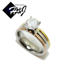 Women Stainless Steel Silver/Rose Gold/Gold 1.25 CT Round Cut CZ Engagement Ring