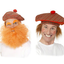 MENS SCOTTISH TAM O SHANTER FANCY DRESS RED TARTAN HAT WITH ORANGE / GINGER WIG