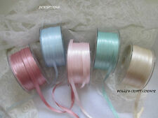 BERISFORDS DOUBLE SATIN RIBBON DAINTY PASTEL COLOURS 3MM 7MM 10MM 15MM 25MM 50MM