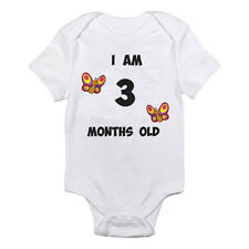 I AM 3 MONTHS OLD - Age / Three / Birth / Butterfly Themed Baby Grow / Suit