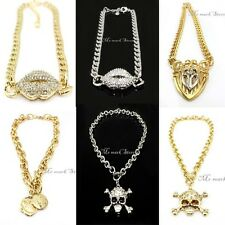 New Golden Silver Color Alloy Thick Chain Link Hook Circle Chunky Necklace