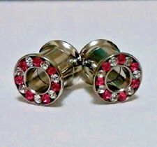 Plugs Pink and Clear CZ  Double Flared Screw Fit Tunnel  1 Pair