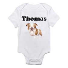 PERSONALISED NAMED BULL DOG - Animal / Boy / Girl / Fun Themed Baby Grow/Suit