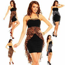 Sexy Black/Brown Leopard Print High Low Cocktail Prom Gown 2013 Straples UK 8/12