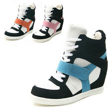 Women's High Top Sneakers Single Velcro Lace Up Wedge Heeled Trainers Shoes K505
