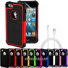 For iPhone 5 / 5G  Rugged Rubber Matte Hard Case Cover w/ Charge Sync Cable