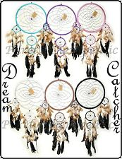 ~LARGE DREAM CATCHER~27cm Web~70cm Long~Natural Feathers~Silver Web~Wall Hanging