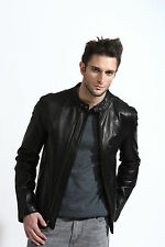men's black leather racer jacket, soft lambskin, moto collar, fully lined