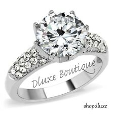 4.75 Ct Round Cut AAA CZ Stainless Steel Engagement Wedding Ring Women's Sz 5-10