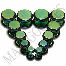 V119 Green Fake Cheaters Illusion Faux 16G Ear Plugs 4G 2G 0G 00G 7/16 1/2 Steel
