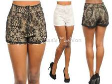 WOMENS short pinup hotpant Lace applique lined flat Sexy S M L Club