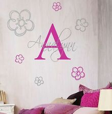 Girls Vinyl Wall Decal- Name Monogram and Flowers Vinyl Wall Decal Bedroom Decor