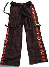 SDL mens /womens Black trousers with red stripe detail and metal rings  DO256s