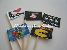 12 or 20 CUPCAKE FLAGS/TOPPERS - I LOVE 80s ADULT OR CHILDRENS BIRTHDAY PARTY
