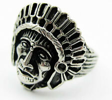 Men's Bling 316L Stainless Steel Chief Of A Tribe Ring Cool Biker