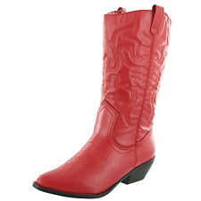 WOMEN'S SODA RENO-S RED WESTERN POINTY TOE RODEO COWGIRL COWBOY BOOTS FASHION
