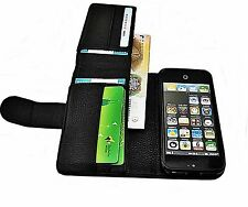 Real Genuine Grain Leather Case Cover  Wallet Stand for Smart Phones Lychee UK