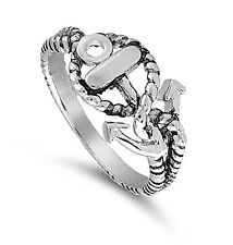 .925 Silver All Purpose Ring with Seafaring Anchor & Rope Wrap Design SIL-1010