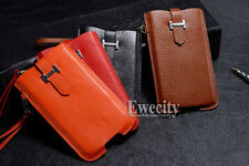 Luxury Deluxe K-COOL Handy Lanyard Pull Up Pouch Genuine Cow Leather Case Cover