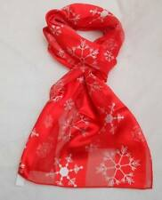 CHRISTMAS SATIN SCARF - HOLLY POINSETTIA, SNOWFLAKES, SANTA, SNOWMAN