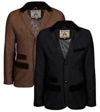 New Mens Tweed Blazer Vintage Herringbone Riding Jacket Cord Elbow Patches Coat
