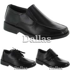 BOYS SMART DRESS SHOES KIDS FORMAL WEDDING BLACK BACK TO SCHOOL SHOES ALL SIZE