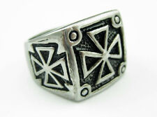 316L Stainless Steel Black Carved Holy Cross Mens Finger Ring Cool Punk