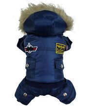 Thick Warm Small Dog Pet Clothes Apparel Hoodie Blue Jumpsuit Pants For Winter