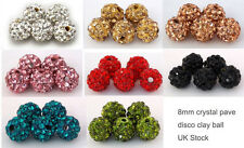 8mm Crystal Paved Clay Disco Ball for Shamballa Bracelets Beads 5pcs 10pcs UK