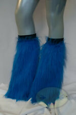 Blue Fluffy Legwarmers Rave Wear Accessories