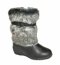GIRLS BLACK FAUX FUR MID CALF SCHOOL CASUAL WINTER WEDGE  BOOTS UK SIZE 10-2