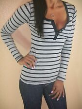 ULTRA SEXY BLACK GRAY PREPPY STRIPES STRETCHY LOW CUT CLEAVAGE HENLEY POCKET TOP