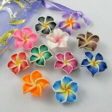 20/30p Mixed Polymer Fimo Clay 5-leaves Flower Spacer Beads 30x10mm U pick color