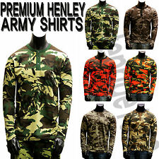 MEN'S NEW PREMIUM QUALITY HENLEY ARMY MILITARY LONG SLEEVE SHIRTS TEE SIZE M-4XL