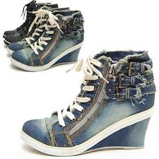 Womens Vintage Washed Denim Lace up Ankle Triple Buckle Zip Wedge Heels Sneakers