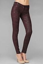 NWT $259 7 FOR ALL MANKIND Skinny Jeans Burgundy High Gloss Snakeskin 23 27 28