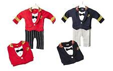 Military Suit Romper Baby Grow Baby Boy Party Outfit Fancy Dress Captain Sailor