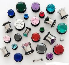 1 Pair 4g Colored CZ Gem Single Flare Ear Plugs Prong Set You Pick Color