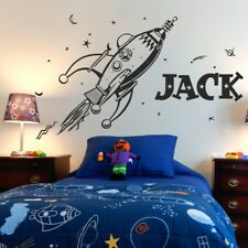 SPACE wall sticker retro rocket planets kids bedroom invaders stickers art vinyl