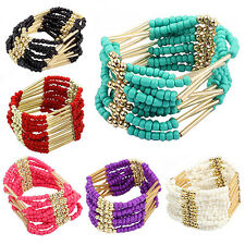 Bohemian Charming Beaded Bangle Bracelet Multilayer Ladies Fashion Jewelry B53U