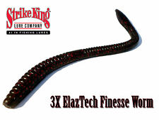 Strike King 3X ElazTech Super Finesse Worm - Select Size(s) Color(s)