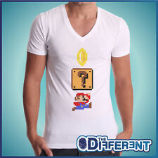 T-SHIRT COLLO V SUPER MARIO BROS VINTAGE VIDEO GAME - NO HAPPINESS NO MY T-SHIRT