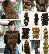50-60cm Long Women One Piece Curly/Wavy Clip-on Hair Synthetic Extension 5Colors