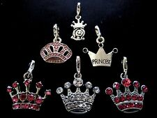 PICK YOUR CROWN CHARM Clip On Silver Princess Crown Tiara Charm or attach to zip
