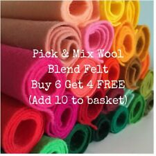 Wool mix felt fabric square - 22cm x 22cm - choice of colours : choose 10 for £6