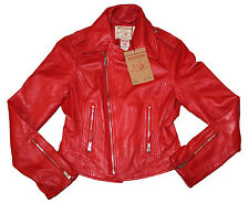 AUTH $450 True Religion Brand Jeans Women Moto Leather Jacket Red