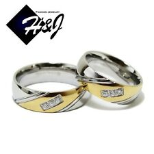 His & Hers 2 Pcs Stainless Steel 7mm Silver Gold Eternity CZ Wedding Band Ring
