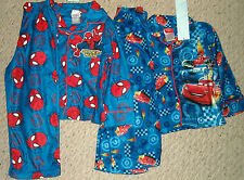 NWT Disney Cars Lightning McQueen & Friends 3T Or Spiderman  4T Flannel Pajamas