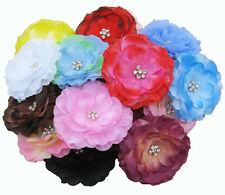 New Wholesale Girl Lady Women 3.2inch Silk Flower Hair Bow Clip (10-100 pcs)