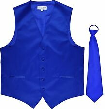 New Men's Solid Tuxedo Vest Waistcoat & Pre-tied Neck tie Royal Blue